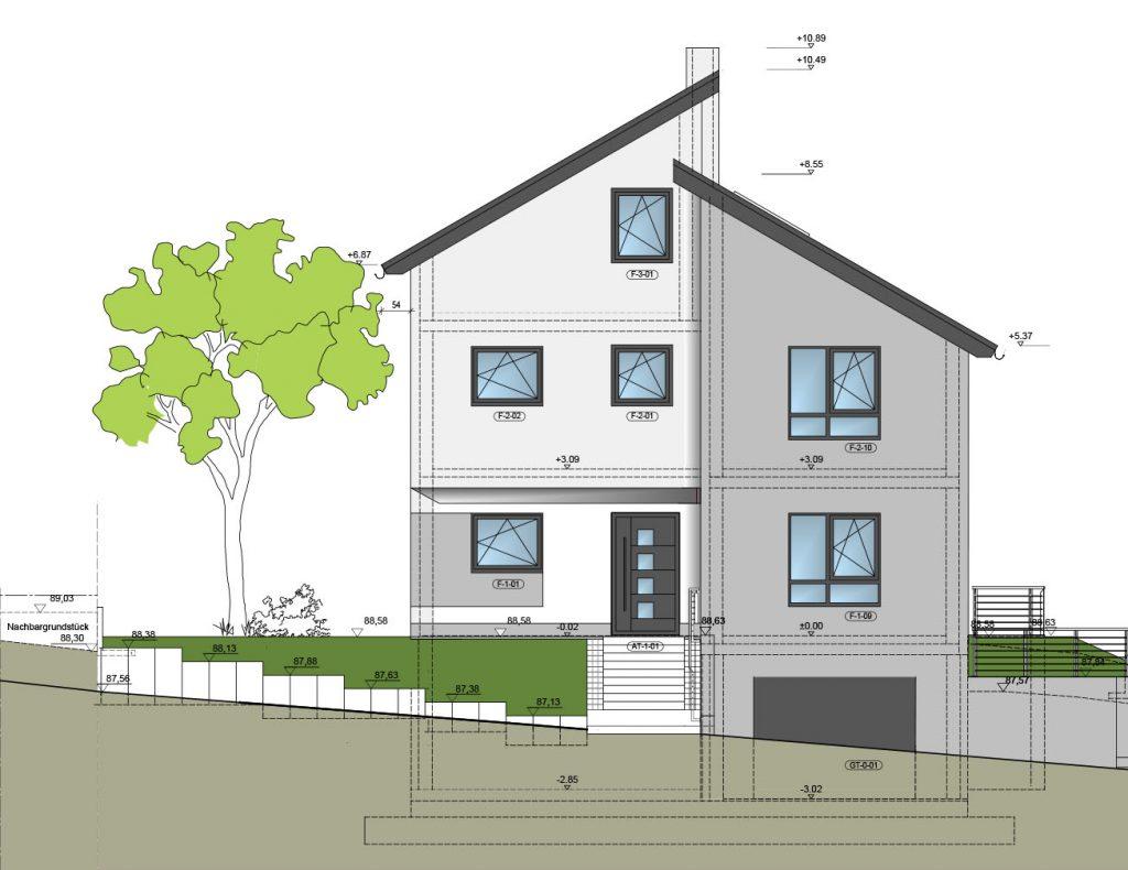 Neubau Einfamilienhaus, Plan Ansicht Südost