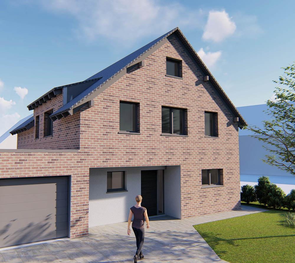 Neubau Einfamilienhaus, Visualisierung der Ansicht Straßenseite
