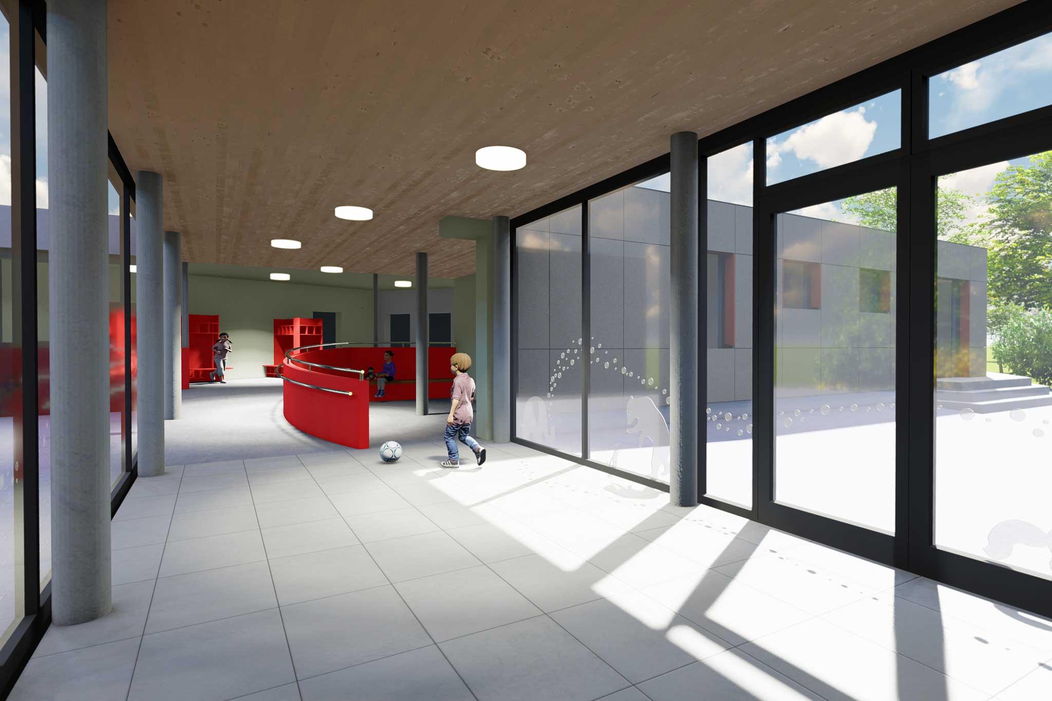 Kindergarten Sankt Matthias, Visualisierung Foyer mit Elterncafé