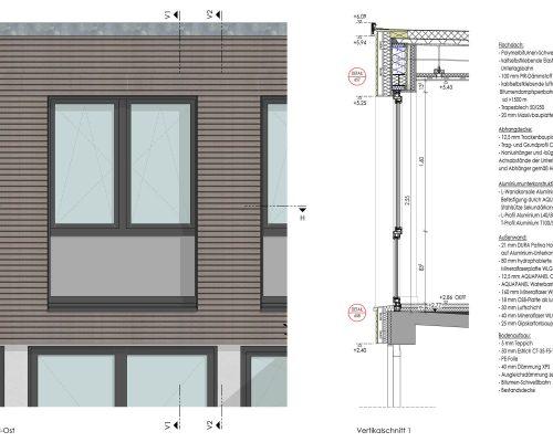 Caritas Geschäftsstelle, Fassadenschnitt Aufstockung